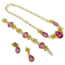 383 Vintage Trifari Kunio Matsumoto pink rhinestone floral necklace, bracelet and earrings jewelry set