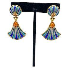 386 vintage 1960's Crown Trifari Egyptian revival glossy enamel clip earrings