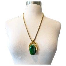 387 Vintage Trifari reversable green (jade look) and cream Lucite modernist Lanvin era necklace
