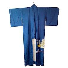 K1.5 Vintage kimono in navy silk with a metallic gold and a metallic silver phoenix