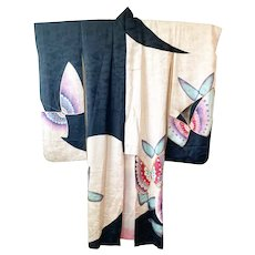 K1.8 vintage butterfly painted cream and black silk kimono