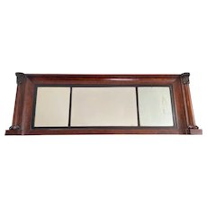 American Classical Overmantel Mirror Carved Columns Birdseye Maple