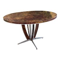 Modern Round Center Table/Breakfast Table on Chrome Base