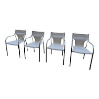 Set of Four Mid Century Modern Chrome Arm Chairs Leather Seats