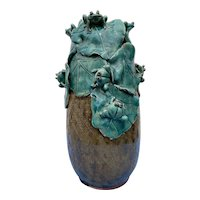 Japanese Frog Vase Glazed Ceramic 20th Century Applied Ceramic Frogs