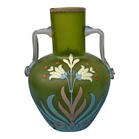 Green Glass Vase with Multi-color Floral Enamel by Fritz Heckert