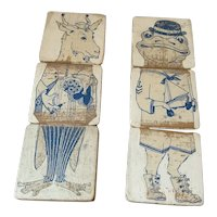 Two Sets of Painted Wooden Blocks Depicting Frog and Goat