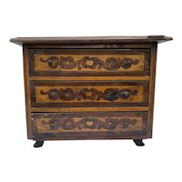 Neoclassical Miniature Walnut Commode with Floral and String Inlays