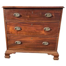 Three-Drawer Chippendale American Mahogany Chest Ogee Bracket Base
