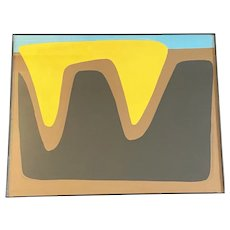 Twin Valley Sunset, Abstract on Paper, Framed, by Achi Sullo