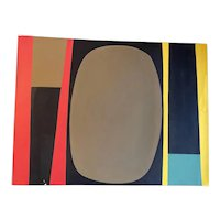 Large American Abstract Painting, by Achi Sullo, Unframed, Gouache Watercolor on Paper