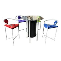 Memphis Group Bar Height Bistro Set with Table and Four Chairs. Designed by Ettore Sottsass