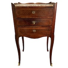 French Marble Top Three Drawer Stand