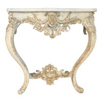 Italian Rococo Marble Top Paint Decorated Console Table