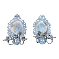 Pair of Dutch Baroque Silver-Plated Sconces