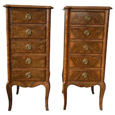 Pair of Diminutive Tall Chests with Five Drawers each