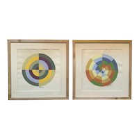Pair of Geometric Abstract Watercolor and Gouache on Paper