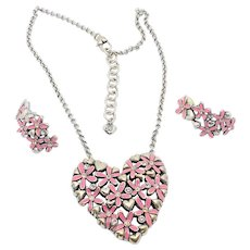 Brighton Pink Daisy Love Necklace Earrings Set - RETIRED