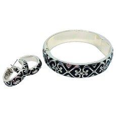 Brighton Black Enamel Bracelet Earrings Set - Retired