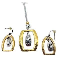 Brighton Sensation Two Tone Necklace Earrings Set - Retired