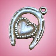 Sterling Horseshoe Heart Charm