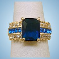 Blue & Crystal Rhinestone Ring