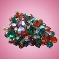 Vintage Faceted Crystal Leaf Brooch