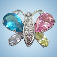 Sterling Pastel Butterfly Pin