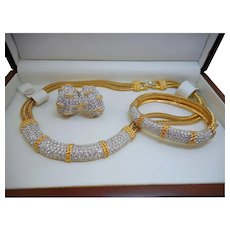 Swarovski Crystal Necklace Earrings Bracelet Set