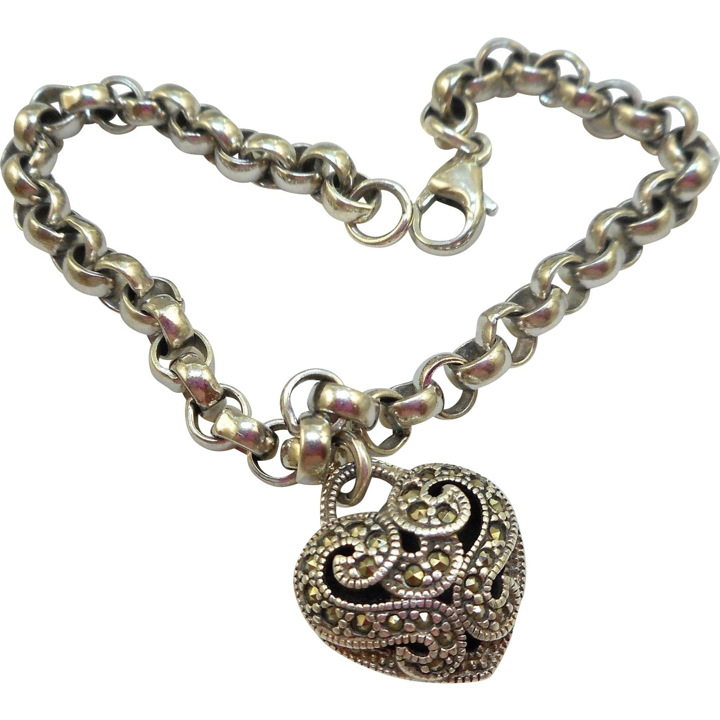 Judith Jack Sterling Heart Charm