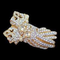 Swarovski Gloves Brooch
