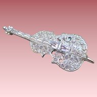 Rhinestone Cello Pin