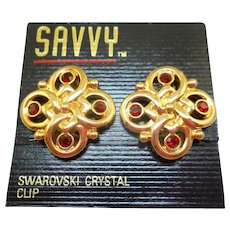 NOS Swarovski Savvy Red Earrings