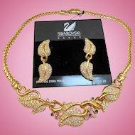 Swarovski Leaf Necklace Earrings Set