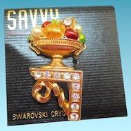 Swarovski Bowl of Fruit Pin - MOC