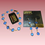 Swarovski Savvy Blue Glass Bracelet Earrings Set - MWT