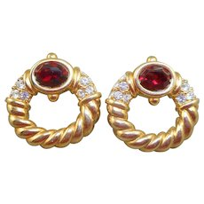 NOS Swarovski Savvy Red Rhinestone Earrings - MOC