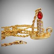 Swarovski Christmas Candle Pendant Necklace