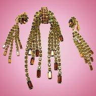 Hobe Green Topaz Rhinestone Pin Earrings Set