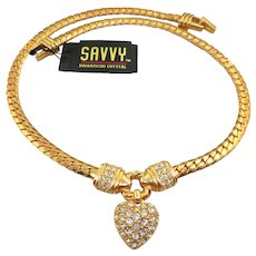 NOS Swarovski Savvy Heart Necklace