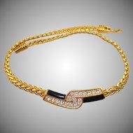 Swarovski Black Enamel Rhinestone Necklace