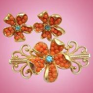 Coral Pin Earrings Set