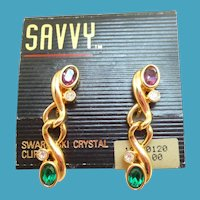 NOS Swarovski Savvy Purple Green Earrings - MOC