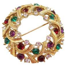 Swarovski Christmas Wreath Pin