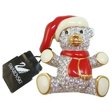 Swarovski Christmas Teddy Bear Pin
