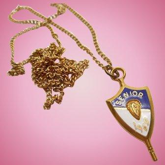 Jostens 1969 Senior Shield Pendant Necklace