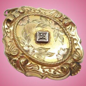 Victorian Locket w/Diamond Chip