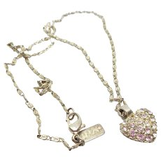 Vintage 1928 Rhinestone Heart Necklace