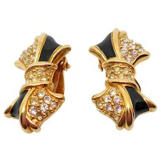 Swarovski Black Enamel Rhinestone Bow Clip Earrings