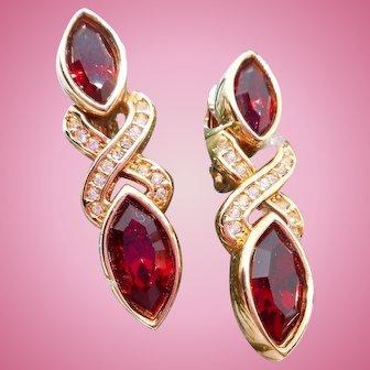 Vintage Swarovski Red Rhinestone Earrings